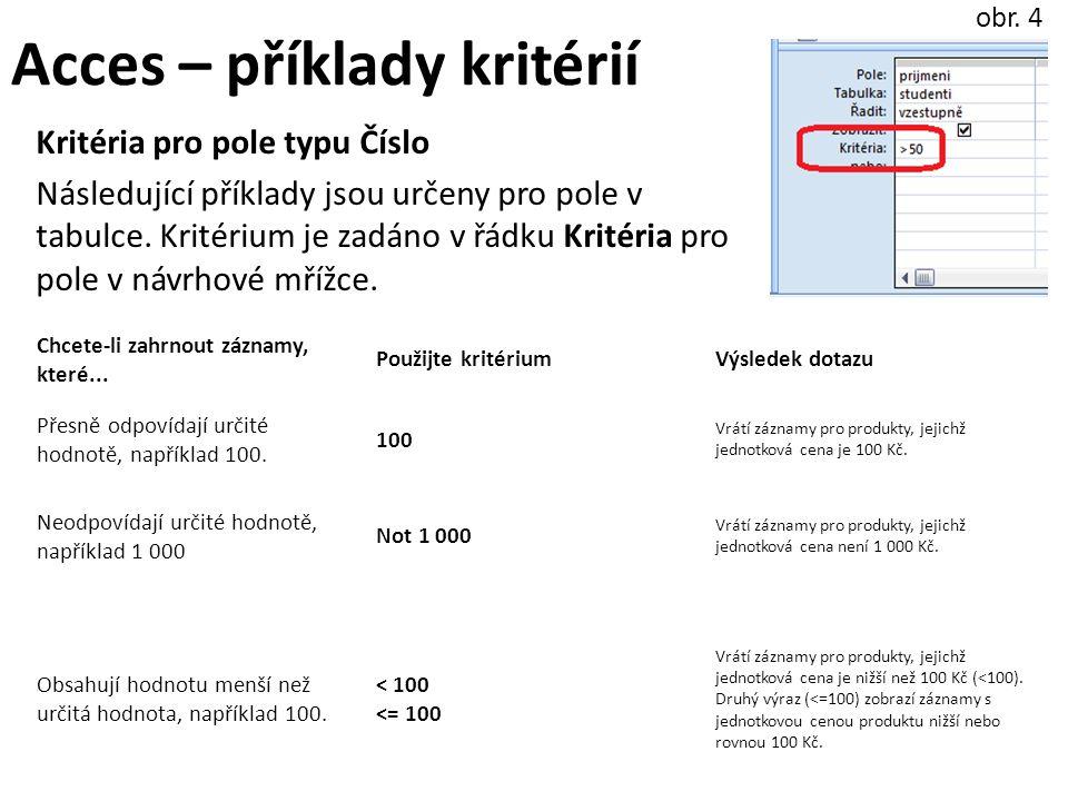 Acces – příklady kritérií Kritéria pro pole typu Číslo Následující příklady jsou určeny pro pole v tabulce.