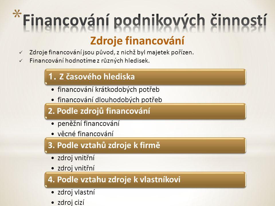 Zdroje financování Zdroje financování jsou původ, z nichž byl majetek pořízen.