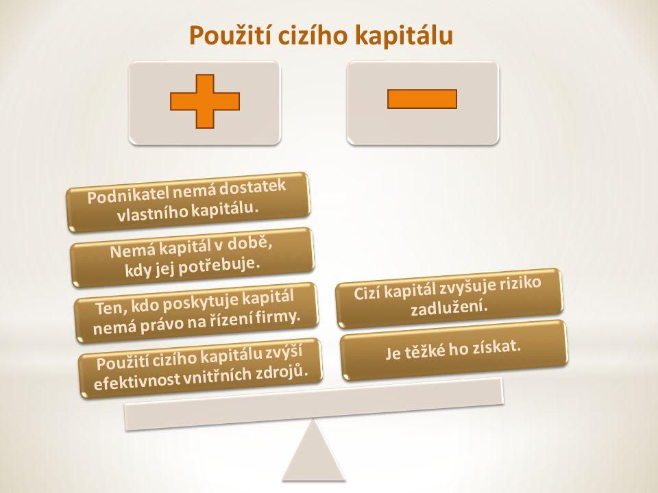 Použití cizího kapitálu Použití cizího kapitálu zvýší efektivnost vnitřních zdrojů.
