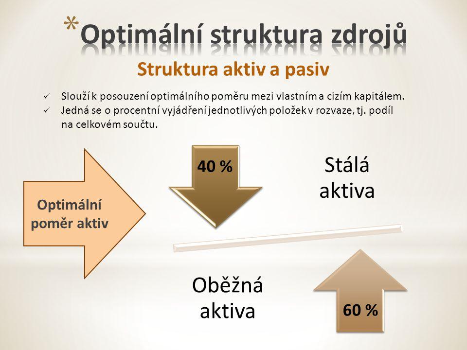 Struktura aktiv a pasiv Slouží k posouzení optimálního poměru mezi vlastním a cizím kapitálem.