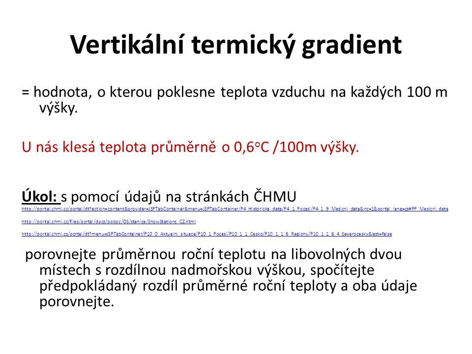 Vertikální termický gradient = hodnota, o kterou poklesne teplota vzduchu na každých 100 m výšky.