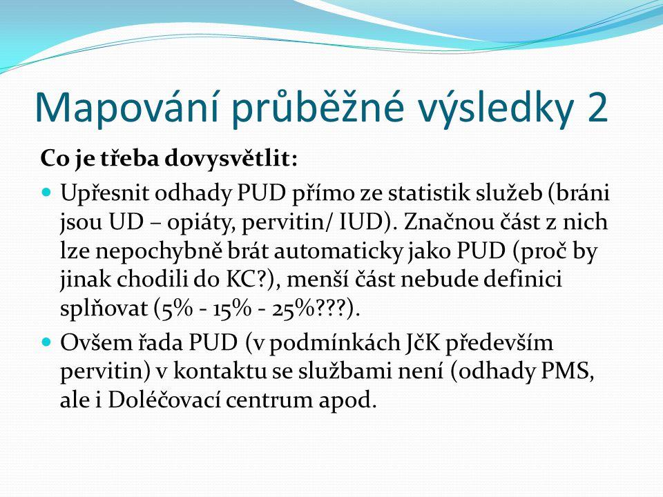 Mapování průběžné výsledky 2 Co je třeba dovysvětlit: Upřesnit odhady PUD přímo ze statistik služeb (bráni jsou UD – opiáty, pervitin/ IUD). Značnou č