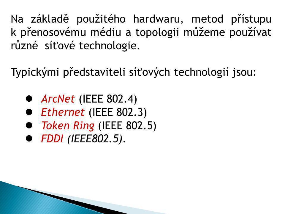 Na základě použitého hardwaru, metod přístupu k přenosovému médiu a topologii můžeme používat různé síťové technologie.