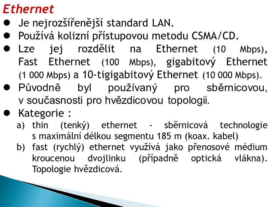 Token Ring Kruhová topologie, přístupová metoda token, v sítí se používá centrální stanice MAU (ekvivalent HUB v ethernetu).