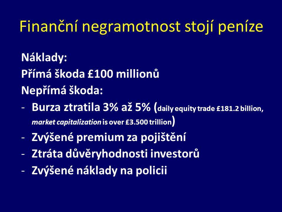 Náklady: Přímá škoda £100 millionů Nepřímá škoda: -Burza ztratila 3% až 5% ( daily equity trade £181.2 billion, market capitalization is over £3.500 trillion ) -Zvýšené premium za pojištění -Ztráta důvěryhodnosti investorů -Zvýšené náklady na policii