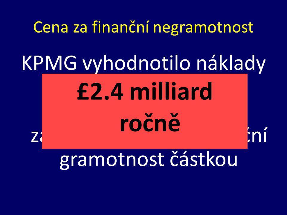 Cena za finanční negramotnost KPMG vyhodnotilo náklady daňových poplatníků (co platí stát) za nedostatečnou finanční gramotnost částkou £2.4 milliard ročně