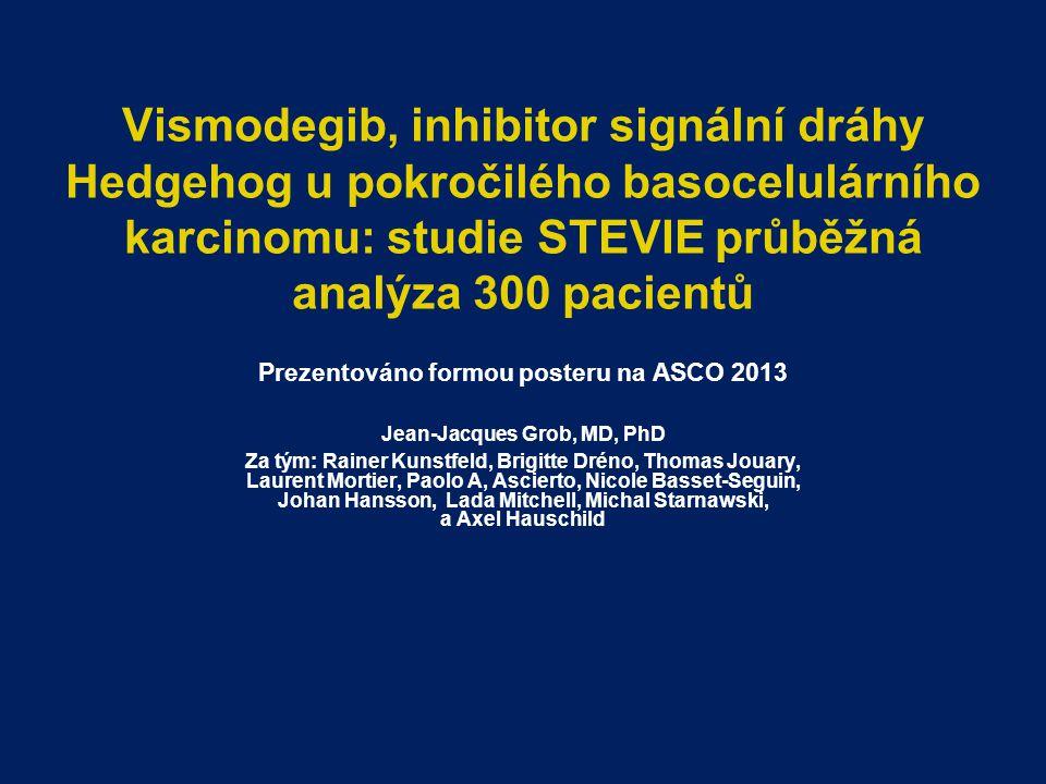 Vismodegib, inhibitor signální dráhy Hedgehog u pokročilého basocelulárního karcinomu: studie STEVIE průběžná analýza 300 pacientů Prezentováno formou