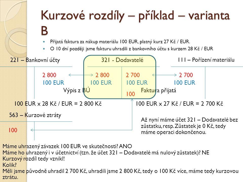 Kurzové rozdíly – příklad – varianta B Přijatá faktura za nákup materiálu 100 EUR, platný kurz 27 Kč / EUR. O 10 dní později jsme fakturu uhradili z b
