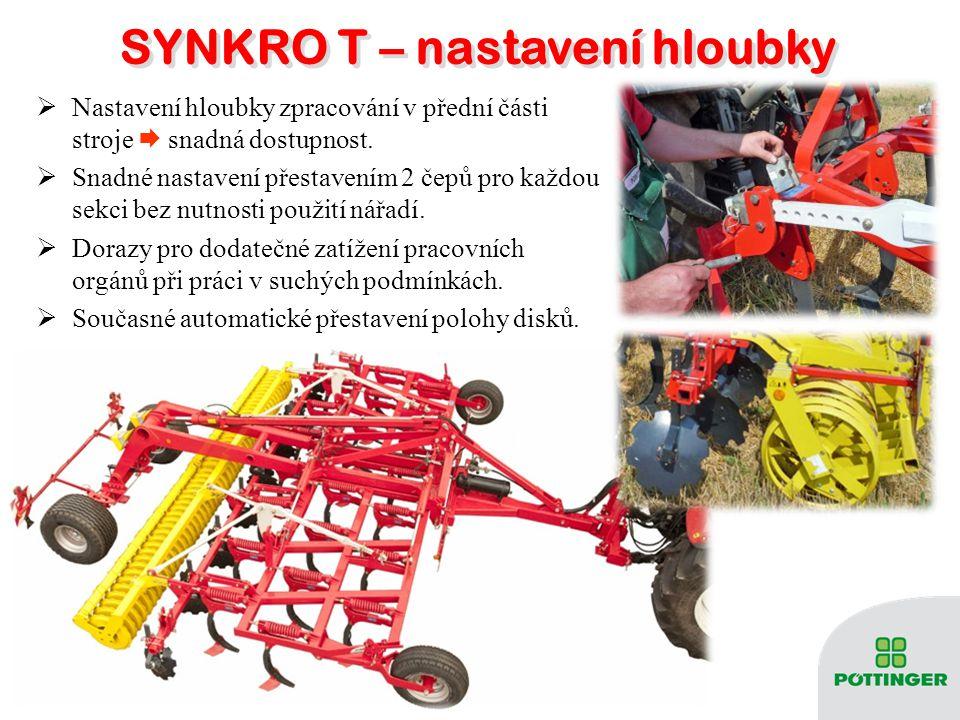 SYNKRO T – podvozek SYNKRO T – podvozek  Dotěžování stroje při práci na těžkých a suchých půdách.  Nízká dopravní výška.  Pneumatiky 500/50-17 (na