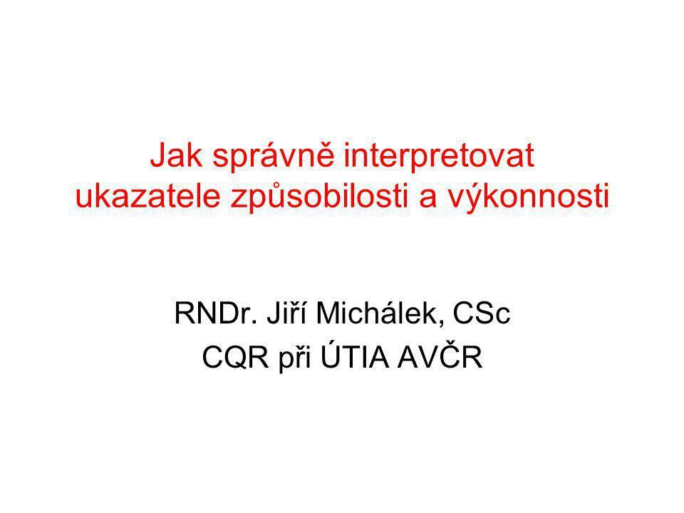 Jak správně interpretovat ukazatele způsobilosti a výkonnosti RNDr.