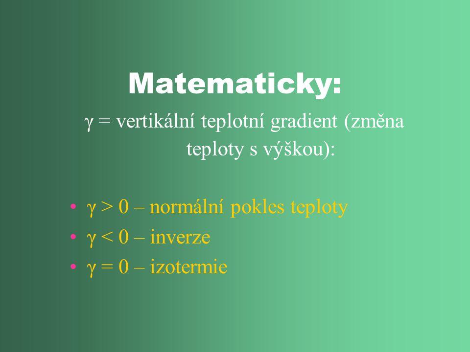 Matematicky: γ = vertikální teplotní gradient (změna teploty s výškou): γ > 0 – normální pokles teploty γ < 0 – inverze γ = 0 – izotermie