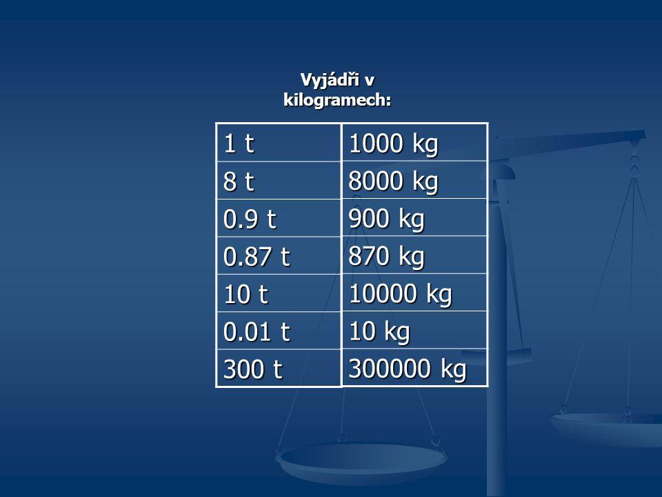 1000 kg 8000 kg 900 kg 870 kg 10000 kg 10 kg 300000 kg Vyjádři v kilogramech: 1 t 8 t 0.9 t 0.87 t 10 t 0.01 t 300 t