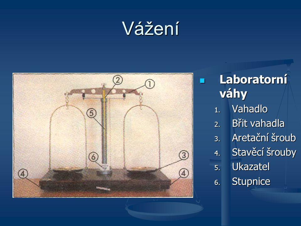 Vážení Laboratorní váhy Laboratorní váhy 1.Vahadlo 2.