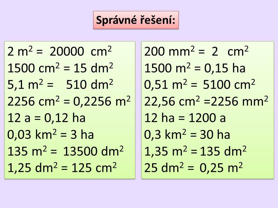 2 m 2 = 20000cm 2 1500 cm 2 = 15dm 2 5,1 m 2 = 510dm 2 2256 cm 2 = 0,2256 m 2 12 a = 0,12 ha 0,03 km 2 = 3 ha 135 m 2 =13500 dm 2 1,25 dm 2 = 125 cm 2 2 m 2 = 20000cm 2 1500 cm 2 = 15dm 2 5,1 m 2 = 510dm 2 2256 cm 2 = 0,2256 m 2 12 a = 0,12 ha 0,03 km 2 = 3 ha 135 m 2 =13500 dm 2 1,25 dm 2 = 125 cm 2 Správné řešení: 200 mm 2 = 2cm 2 1500 m 2 = 0,15 ha 0,51 m 2 = 5100 cm 2 22,56 cm 2 =2256 mm 2 12 ha = 1200 a 0,3 km 2 =30 ha 1,35 m 2 =135 dm 2 25 dm 2 = 0,25m 2 200 mm 2 = 2cm 2 1500 m 2 = 0,15 ha 0,51 m 2 = 5100 cm 2 22,56 cm 2 =2256 mm 2 12 ha = 1200 a 0,3 km 2 =30 ha 1,35 m 2 =135 dm 2 25 dm 2 = 0,25m 2
