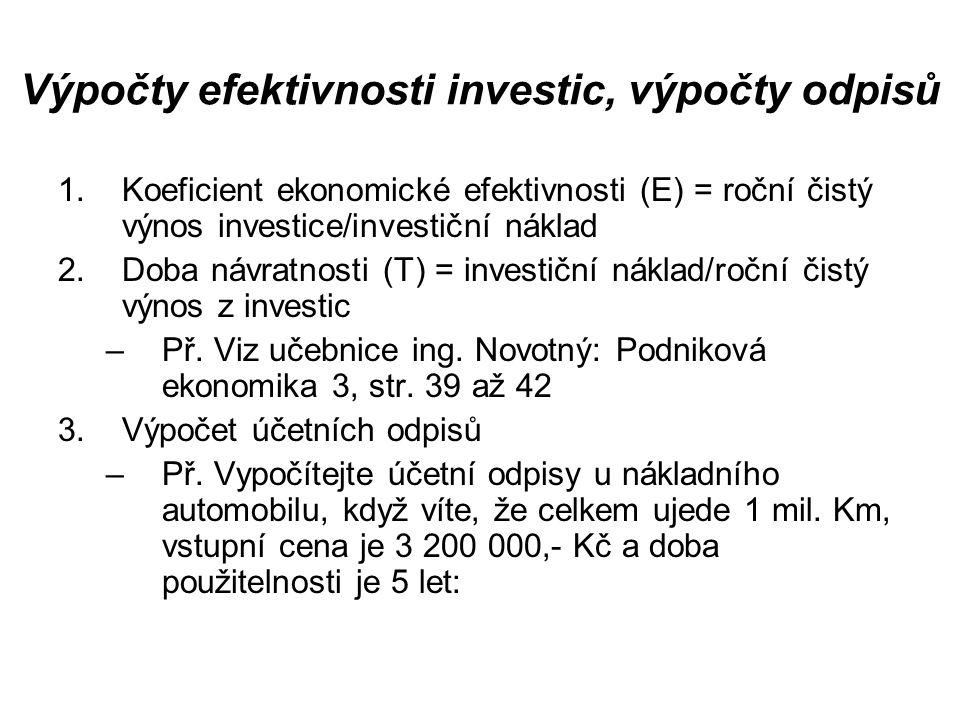 Výpočty efektivnosti investic, výpočty odpisů RokPočet ujetých kmRoční odpis 1.100 000 2.300 000 3.200 000 4.250 000 5.150 000 Celkem1 000 0003 200 000,-