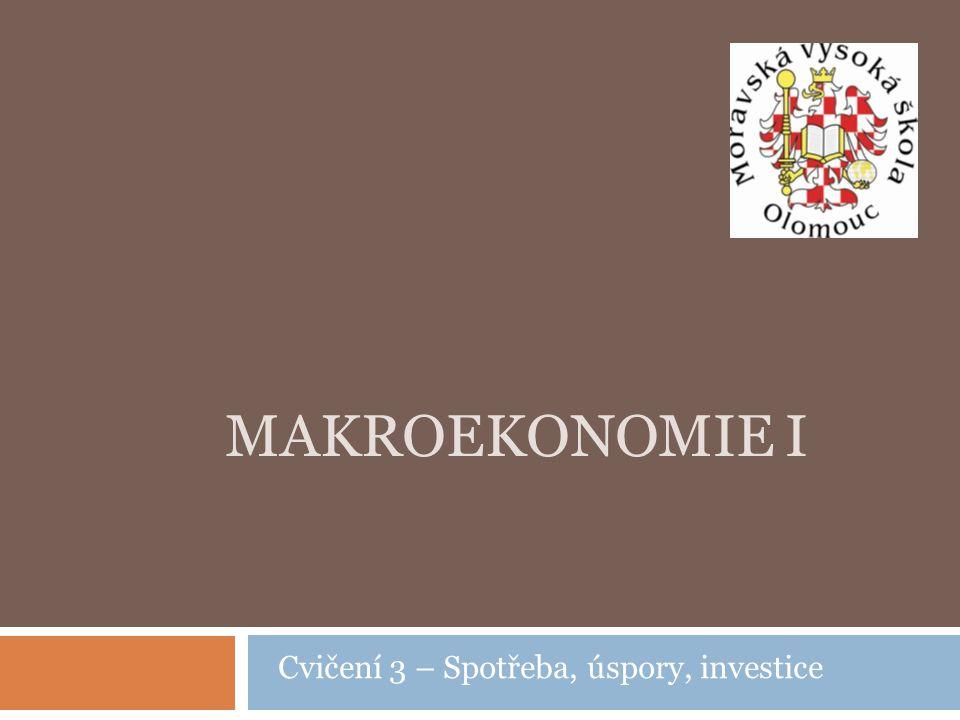Otázky na dnešní cvičení Spotřeba, úspory, investice  Spotřeba, spotřební funkce, úsporová funkce  Investice (plánované, neplánované), investiční funkce  Rovnovážný HDP v dvousektorové ekonomice  Rovnovážný HDP ve třísektorové ekonomice  Rovnovážný HDP ve čtyřsektorové ekonomice