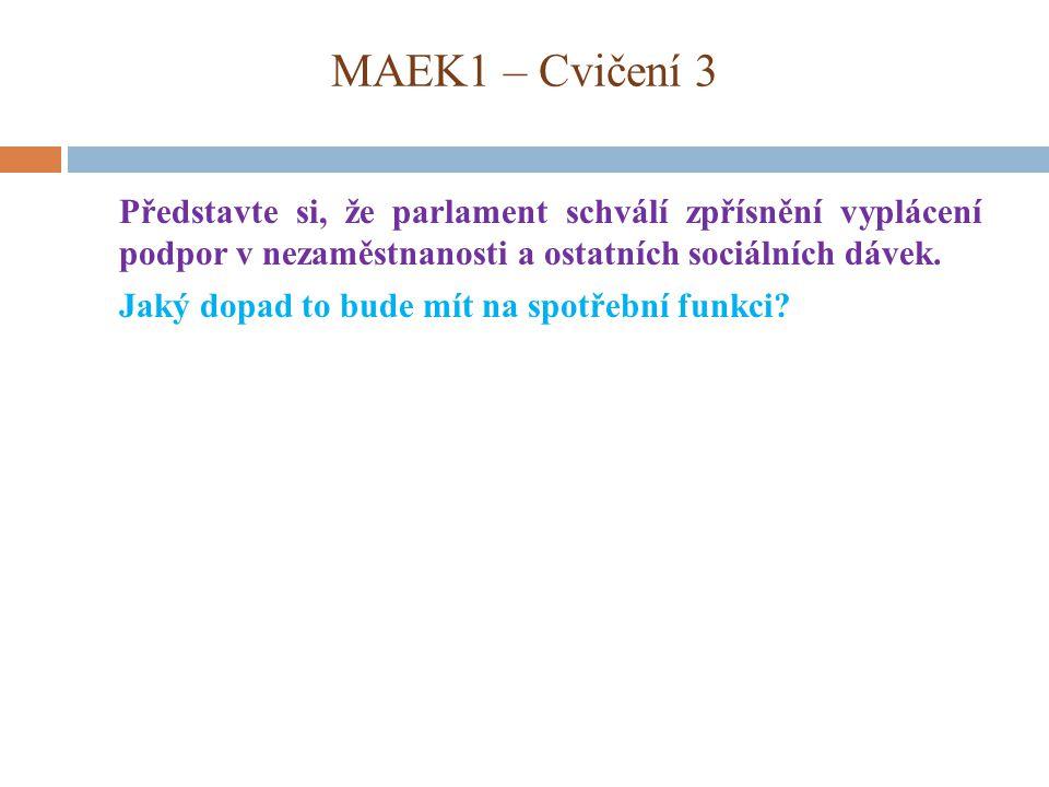MAEK1 – Cvičení 3 Představte si, že parlament schválí zpřísnění vyplácení podpor v nezaměstnanosti a ostatních sociálních dávek. Jaký dopad to bude mí