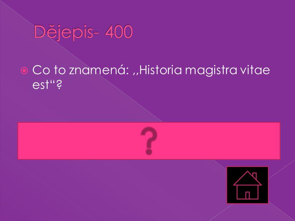 " Co to znamená:,,Historia magistra vitae est""?  Historie je učitelkou národa., latina"