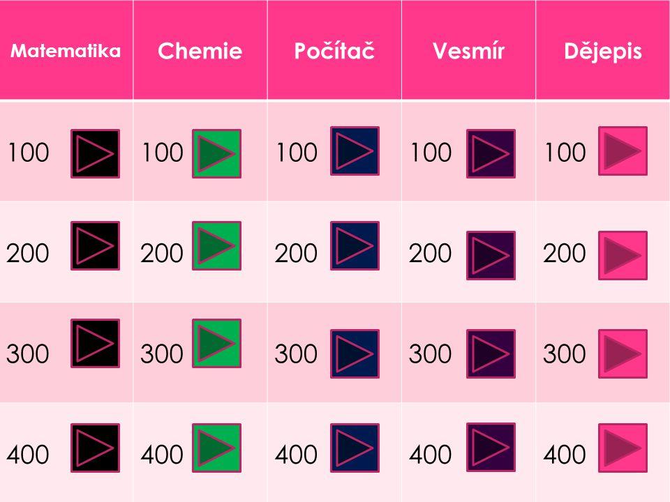 Matematika ChemiePočítačVesmírDějepis 100 200 300 400