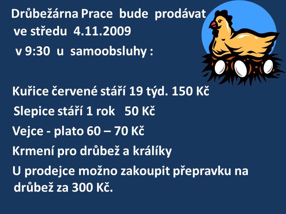 Drůbežárna Prace bude prodávat ve středu 4.11.2009 v 9:30 u samoobsluhy : Kuřice červené stáří 19 týd.