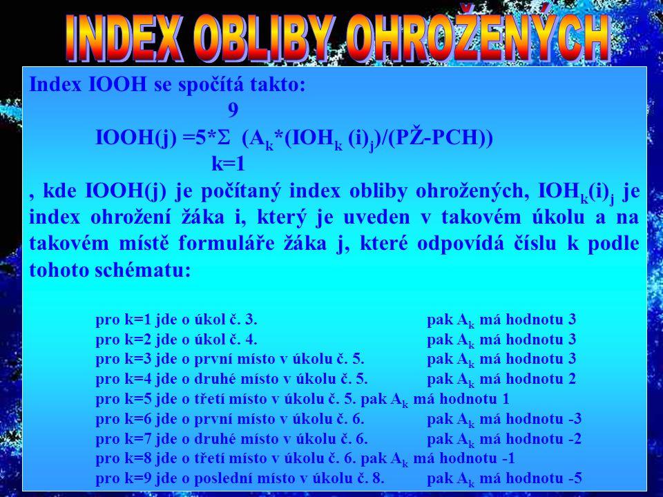 Index ohrožení (IOH) se u každého žáka spočítá takto: IOH(j)=2*IN(j)+INCH(j)+2*(POS(j))-X, kde k X se přičítají body takto: + 3 body za každé uvedení žáka j v úkolu č.