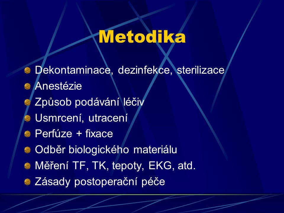 Metodika Dekontaminace, dezinfekce, sterilizace Anestézie Způsob podávání léčiv Usmrcení, utracení Perfúze + fixace Odběr biologického materiálu Měřen
