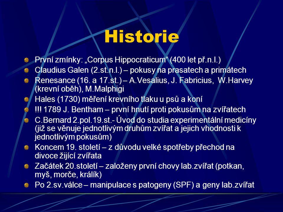 """Historie První zmínky: """"Corpus Hippocraticum"""" (400 let př.n.l.) Claudius Galen (2.st.n.l.) – pokusy na prasatech a primátech Renesance (16. a 17.st.)"""