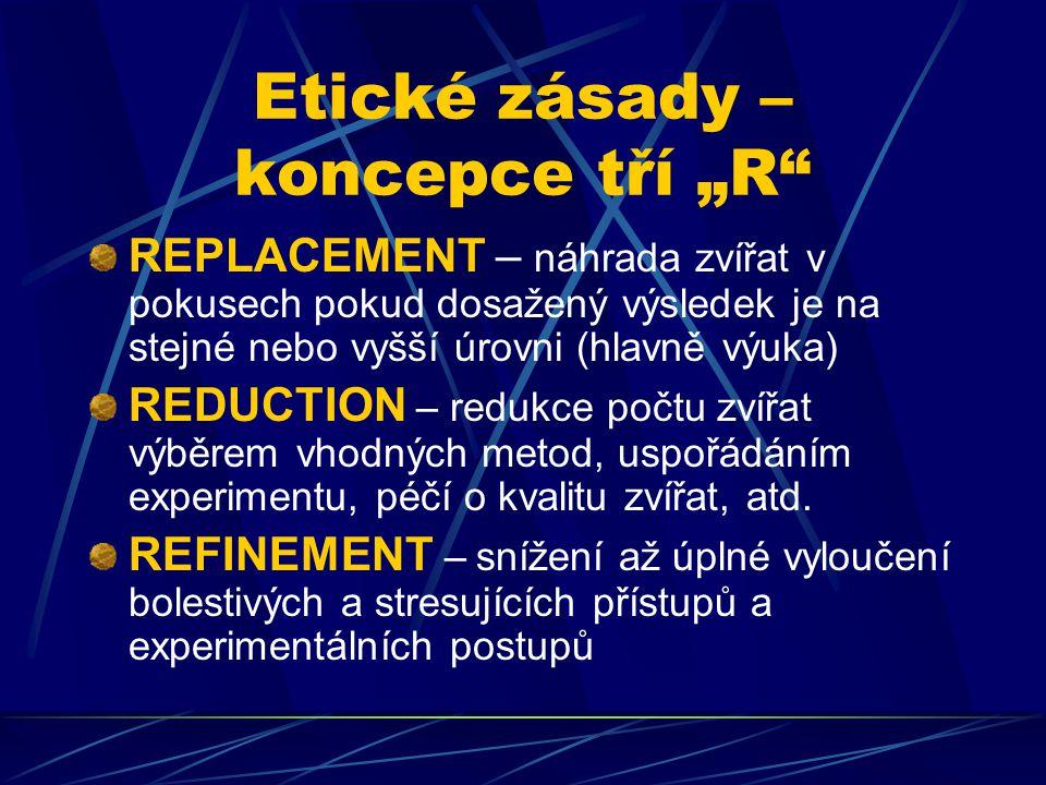 """Etické zásady – koncepce tří """"R"""" REPLACEMENT – náhrada zvířat v pokusech pokud dosažený výsledek je na stejné nebo vyšší úrovni (hlavně výuka) REDUCTI"""