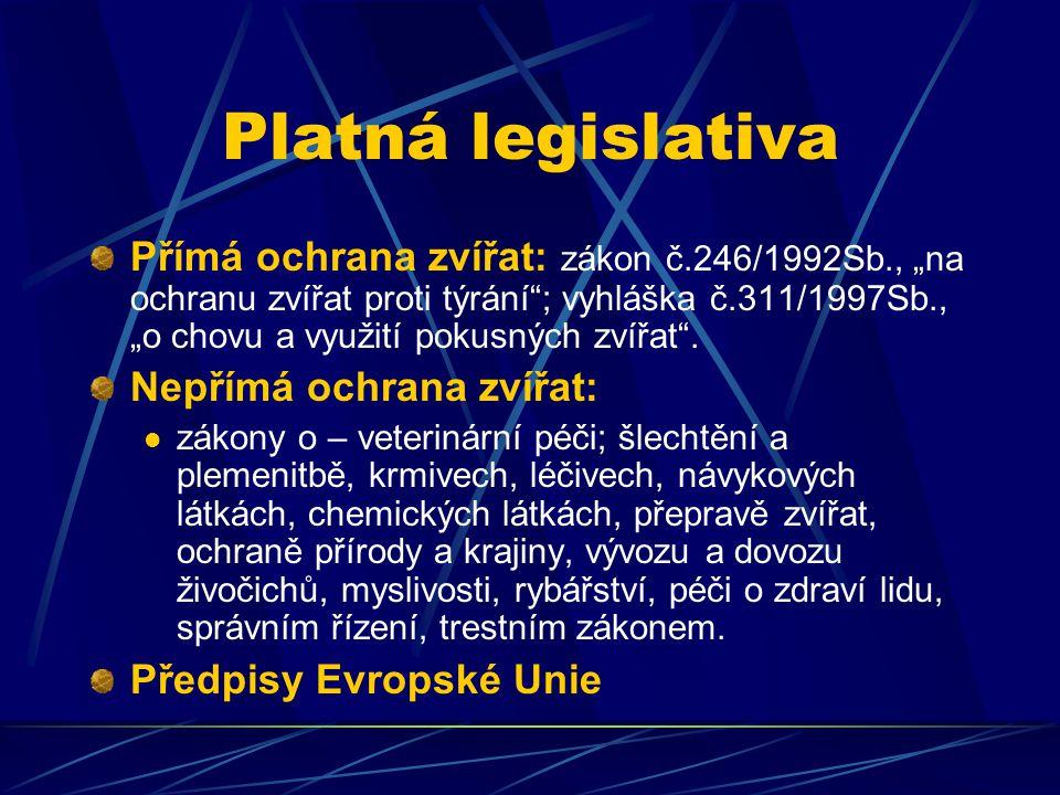 """Platná legislativa Přímá ochrana zvířat: zákon č.246/1992Sb., """"na ochranu zvířat proti týrání""""; vyhláška č.311/1997Sb., """"o chovu a využití pokusných z"""