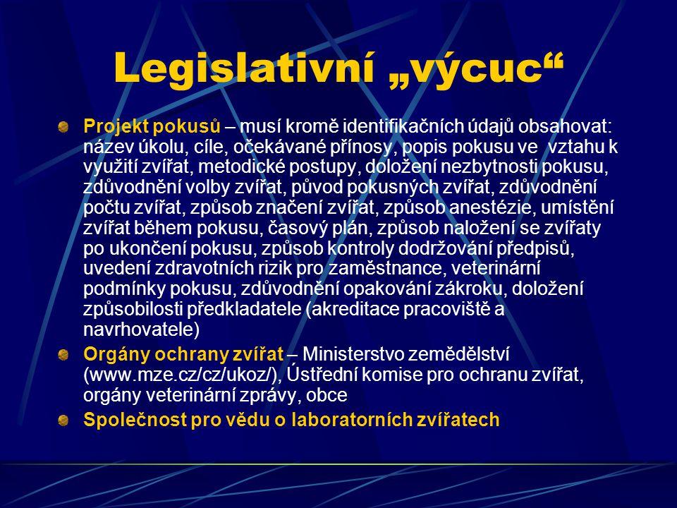 """Legislativní """"výcuc"""" Projekt pokusů – musí kromě identifikačních údajů obsahovat: název úkolu, cíle, očekávané přínosy, popis pokusu ve vztahu k využi"""