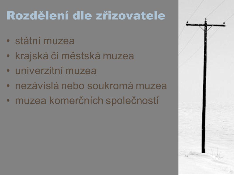Rozdělení dle zřizovatele státní muzea krajská či městská muzea univerzitní muzea nezávislá nebo soukromá muzea muzea komerčních společností