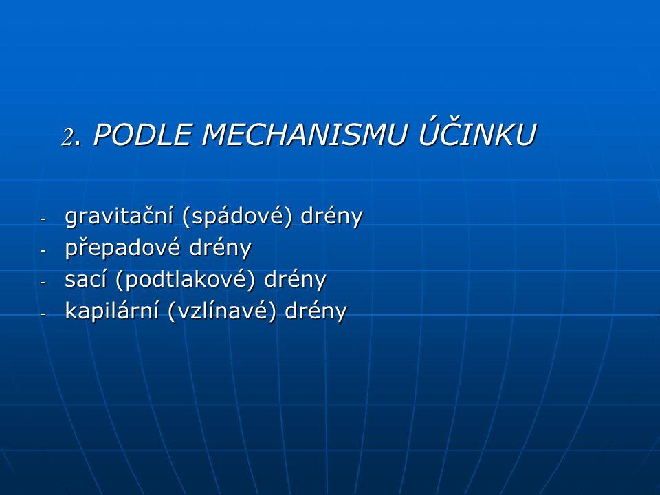 2. PODLE MECHANISMU ÚČINKU 2. PODLE MECHANISMU ÚČINKU - gravitační (spádové) drény - přepadové drény - sací (podtlakové) drény - kapilární (vzlínavé)