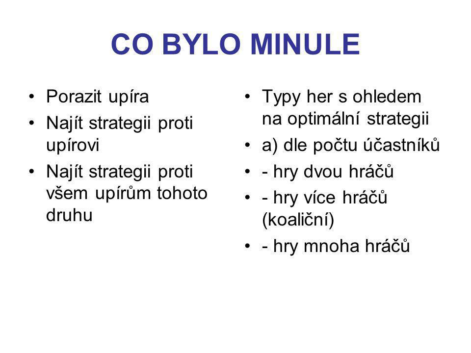 CO BYLO MINULE Porazit upíra Najít strategii proti upírovi Najít strategii proti všem upírům tohoto druhu Typy her s ohledem na optimální strategii a) dle počtu účastníků - hry dvou hráčů - hry více hráčů (koaliční) - hry mnoha hráčů