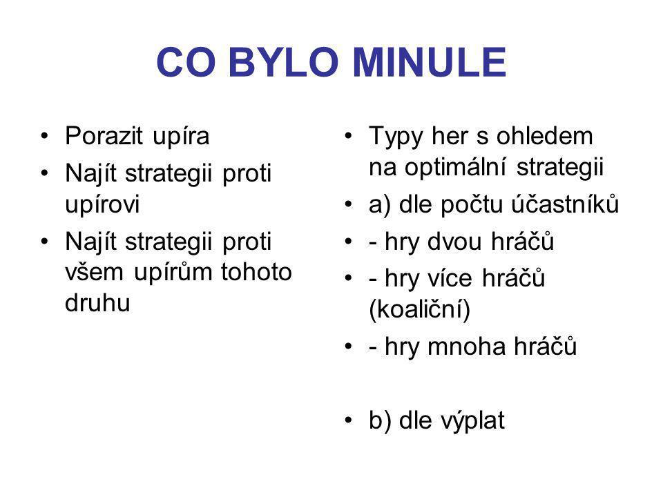 CO BYLO MINULE Porazit upíra Najít strategii proti upírovi Najít strategii proti všem upírům tohoto druhu Typy her s ohledem na optimální strategii a) dle počtu účastníků - hry dvou hráčů - hry více hráčů (koaliční) - hry mnoha hráčů b) dle výplat