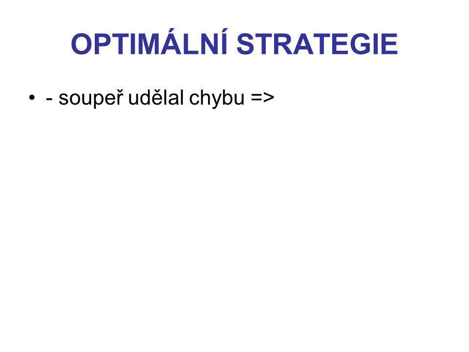 OPTIMÁLNÍ STRATEGIE - soupeř udělal chybu =>