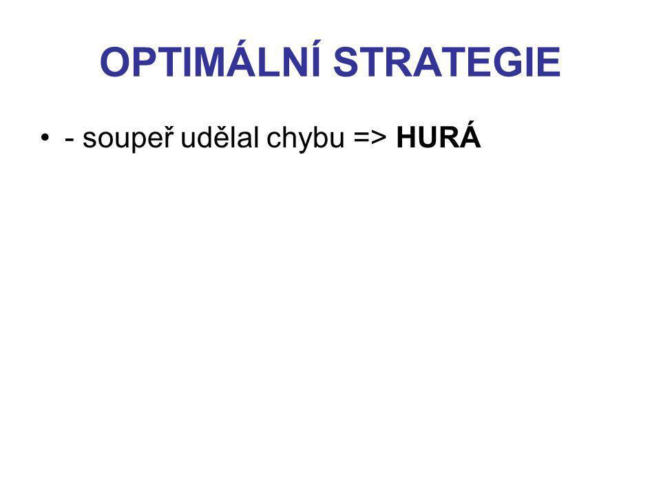 OPTIMÁLNÍ STRATEGIE - soupeř udělal chybu => HURÁ