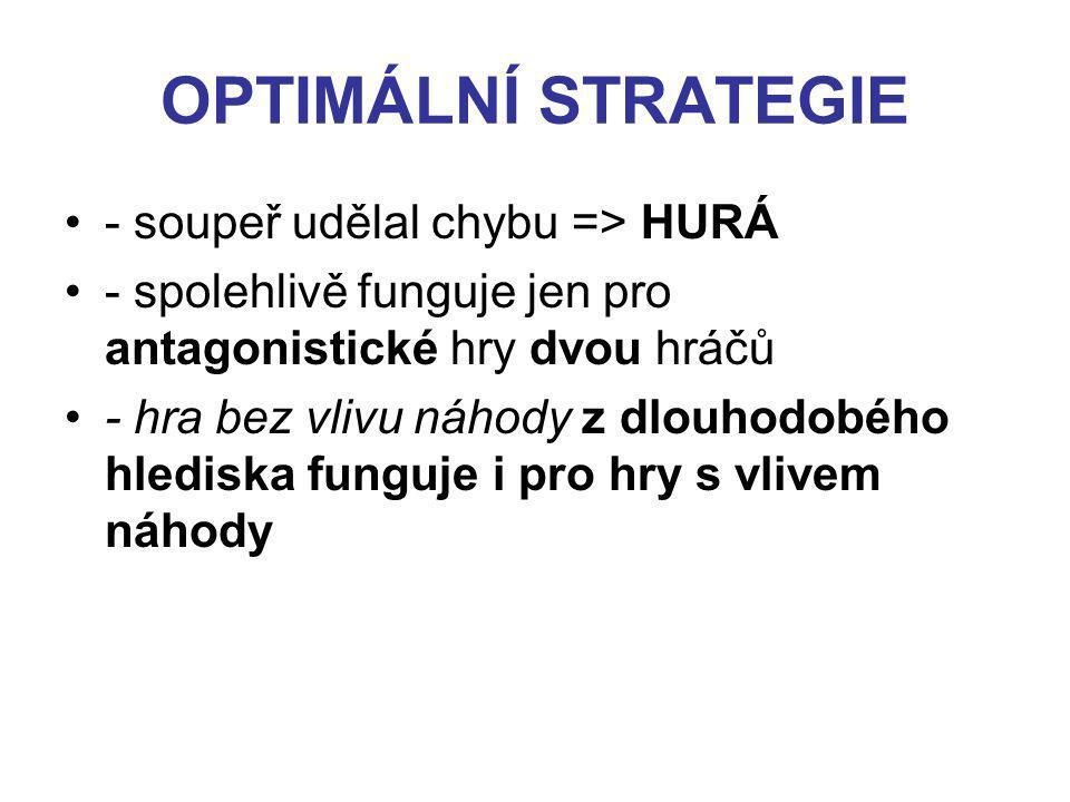 OPTIMÁLNÍ STRATEGIE - soupeř udělal chybu => HURÁ - spolehlivě funguje jen pro antagonistické hry dvou hráčů - hra bez vlivu náhody z dlouhodobého hlediska funguje i pro hry s vlivem náhody