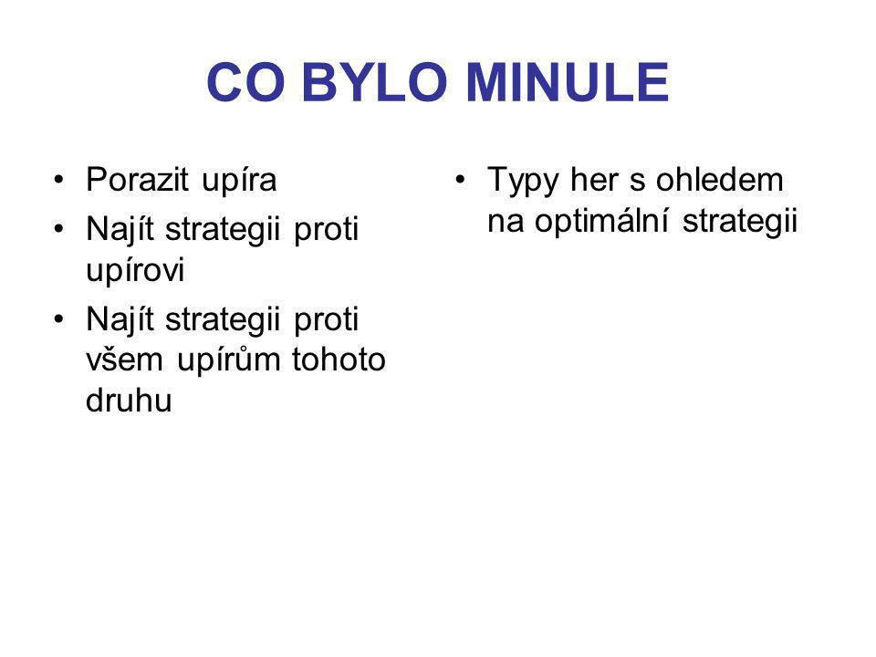 CO BYLO MINULE Porazit upíra Najít strategii proti upírovi Najít strategii proti všem upírům tohoto druhu Typy her s ohledem na optimální strategii a) dle počtu účastníků - hry dvou hráčů - hry více hráčů (koaliční) - hry mnoha hráčů b) dle výplat - hry s nulovým součtem antagonistické - hry s nekonstantním (nenulovým) součtem kooperativní