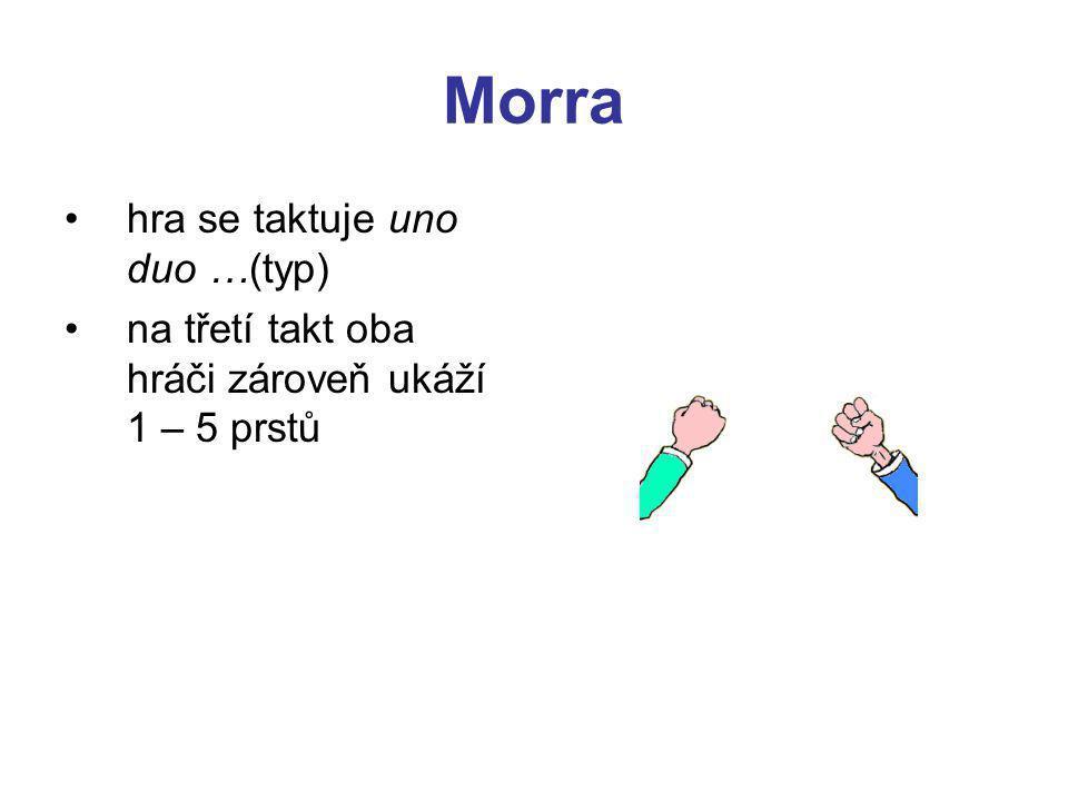 Morra hra se taktuje uno duo …(typ) na třetí takt oba hráči zároveň ukáží 1 – 5 prstů