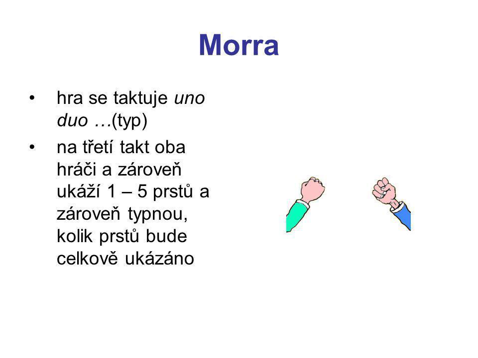 Morra hra se taktuje uno duo …(typ) na třetí takt oba hráči a zároveň ukáží 1 – 5 prstů a zároveň typnou, kolik prstů bude celkově ukázáno