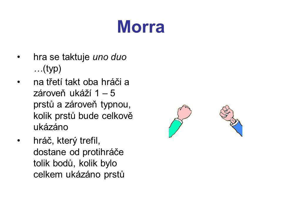 Morra hra se taktuje uno duo …(typ) na třetí takt oba hráči a zároveň ukáží 1 – 5 prstů a zároveň typnou, kolik prstů bude celkově ukázáno hráč, který trefil, dostane od protihráče tolik bodů, kolik bylo celkem ukázáno prstů