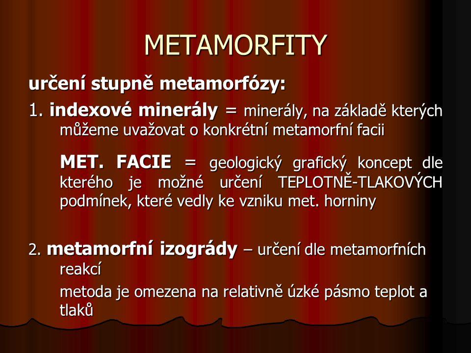 METAMORFNÍ FACIE celkem 7 facií celkem 7 facií členění na základě poměru teplota x tlak členění na základě poměru teplota x tlak METAMORFNÍ IZOGRÁDA rozdělení dle intenzity metamorfózy: slabá – epimetamorfóza střední – mezometamorfóza silná – katamorfóza