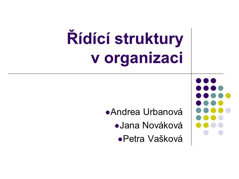 Řídící struktury v organizaci Andrea Urbanová Jana Nováková Petra Vašková