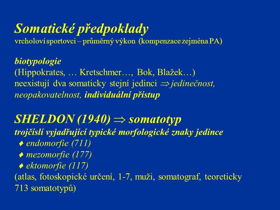 Somatické předpoklady vrcholoví sportovci – průměrný výkon (kompenzace zejména PA) biotypologie (Hippokrates, … Kretschmer…, Bok, Blažek…) neexistují