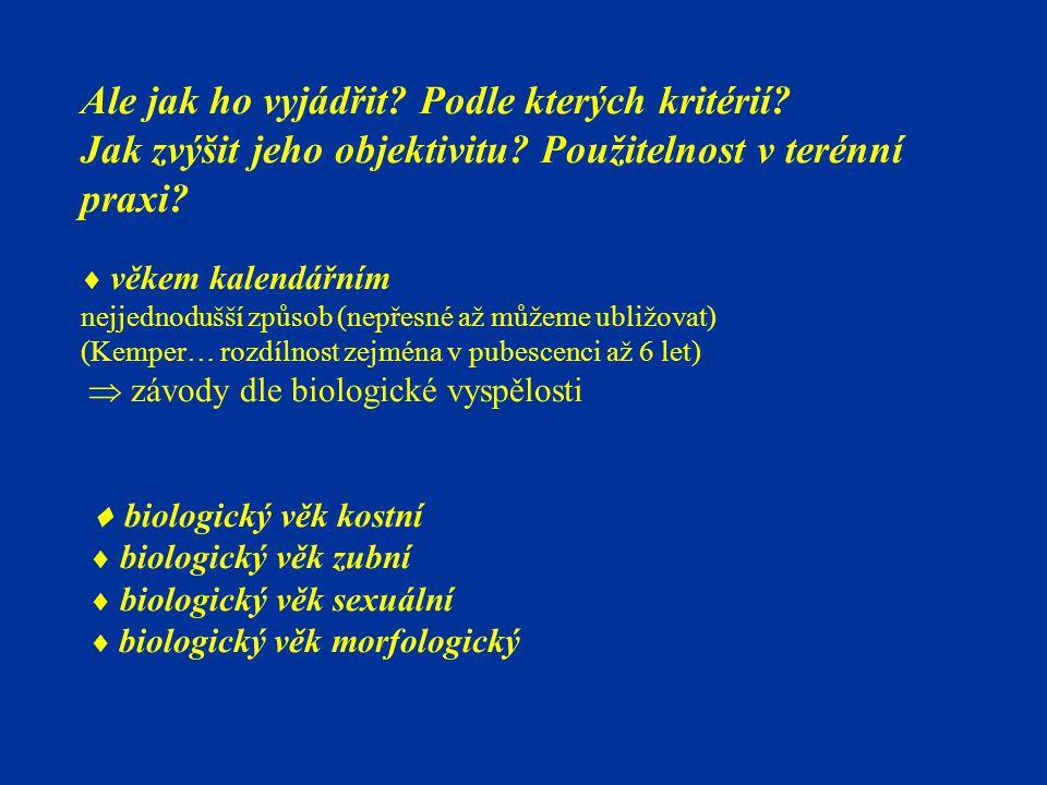 biologický věk morfologický Odvození ze somatických znaků, příp.