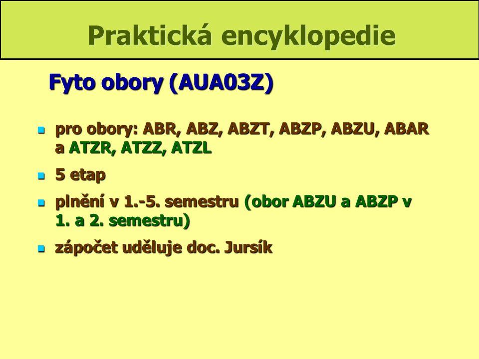 Praktická encyklopedie pro obory: ABE, ABV a ATZV, ATZK, ATZD, ATP pro obory: ABE, ABV a ATZV, ATZK, ATZD, ATP 6 etap 6 etap plnění v 1.-5.