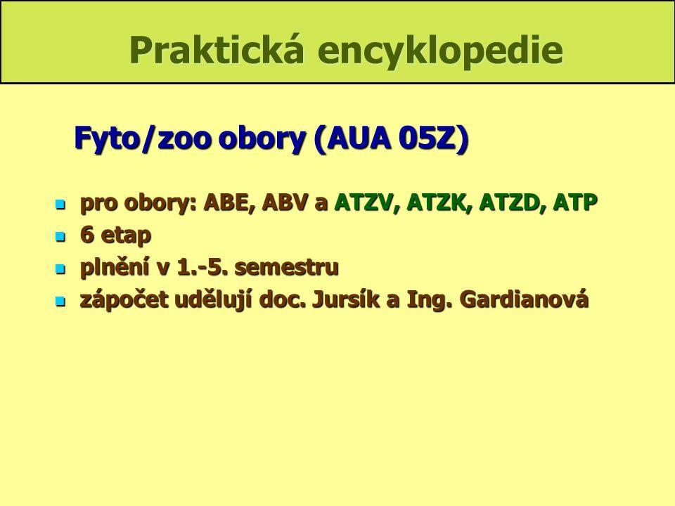 Praktická encyklopedie pro obory: ABE, ABV a ATZV, ATZK, ATZD, ATP pro obory: ABE, ABV a ATZV, ATZK, ATZD, ATP 6 etap 6 etap plnění v 1.-5. semestru p
