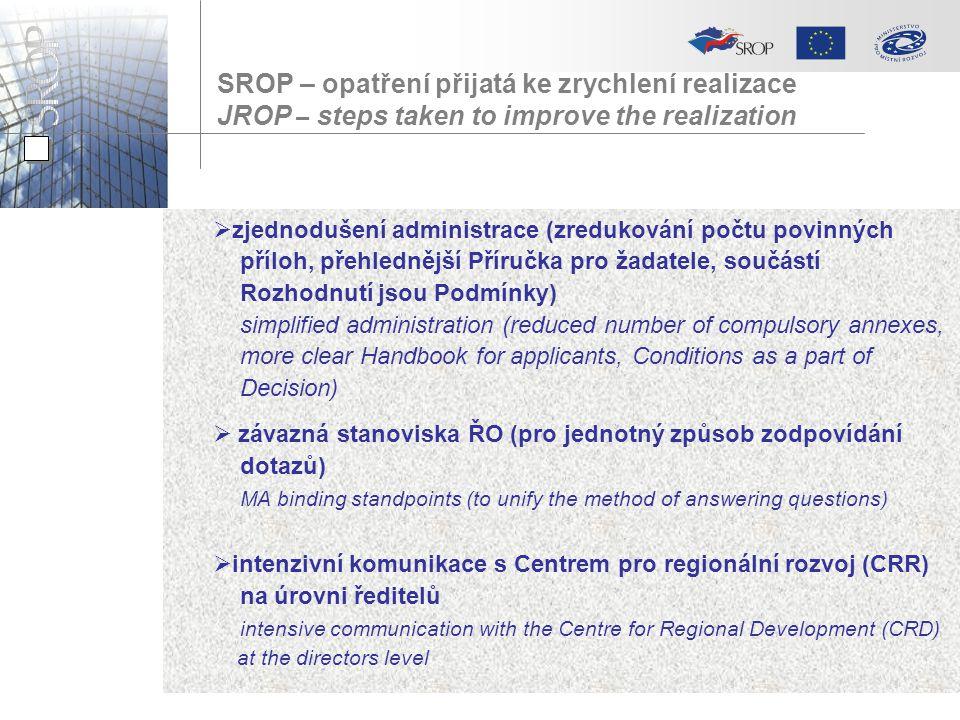 SROP – opatření přijatá ke zrychlení realizace JROP – steps taken to improve the realization  zjednodušení administrace (zredukování počtu povinných příloh, přehlednější Příručka pro žadatele, součástí Rozhodnutí jsou Podmínky) simplified administration (reduced number of compulsory annexes, more clear Handbook for applicants, Conditions as a part of Decision)  závazná stanoviska ŘO (pro jednotný způsob zodpovídání dotazů) MA binding standpoints (to unify the method of answering questions)  intenzivní komunikace s Centrem pro regionální rozvoj (CRR) na úrovni ředitelů intensive communication with the Centre for Regional Development (CRD) at the directors level