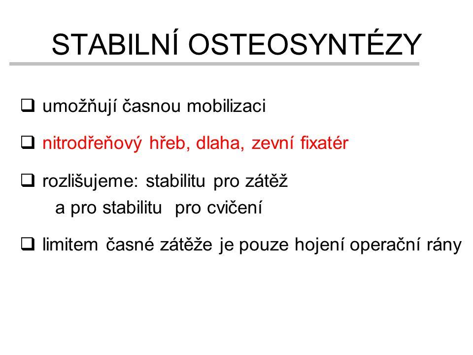 STABILNÍ OSTEOSYNTÉZY  umožňují časnou mobilizaci  nitrodřeňový hřeb, dlaha, zevní fixatér  rozlišujeme: stabilitu pro zátěž a pro stabilitu pro cv