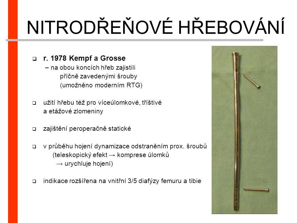 NITRODŘEŇOVÉ HŘEBOVÁNÍ  r. 1978 Kempf a Grosse – na obou koncích hřeb zajistili příčně zavedenými šrouby (umožněno moderním RTG)  užití hřebu též pr